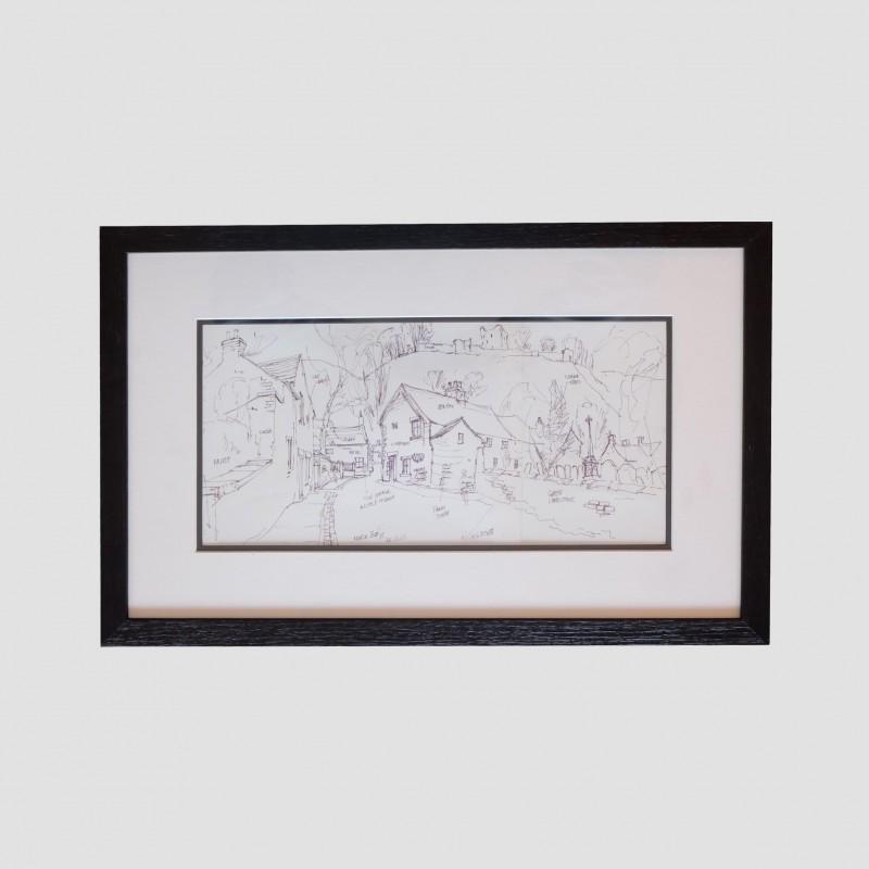 George Cunningham Framed Original Ink Sketch Back Street Castleton