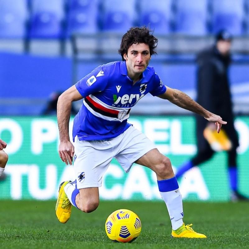 Augello's Worn Shirt, Sampdoria-Fiorentina 2021 - San Valentino Special
