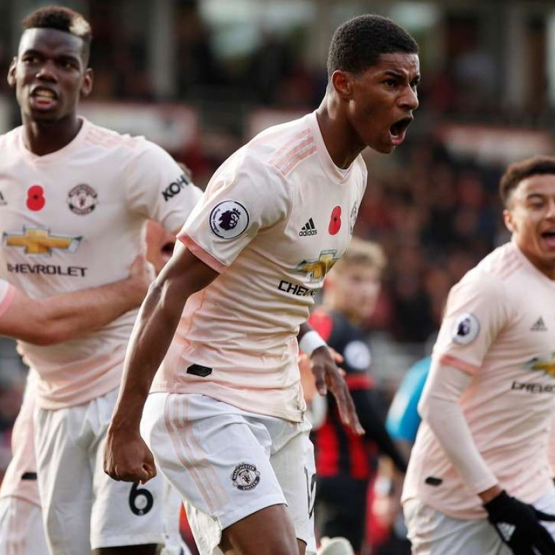 Rashford's Manchester Utd Match-Issue/Worn Poppy Shirt, 2018
