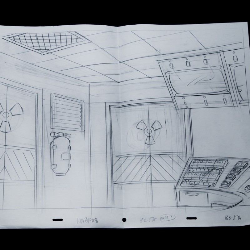 The Simpsons - Original Drawing of Nuclear Power Plant