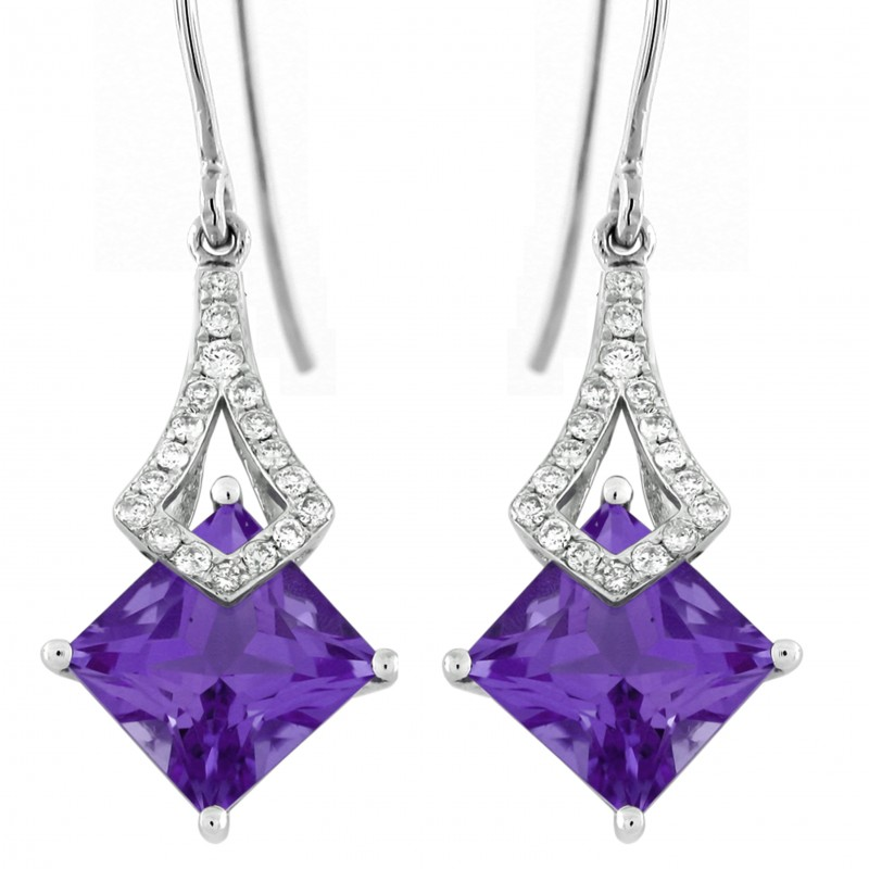 Amethyst and Diamond Dangle Earrings in 14KT White Gold