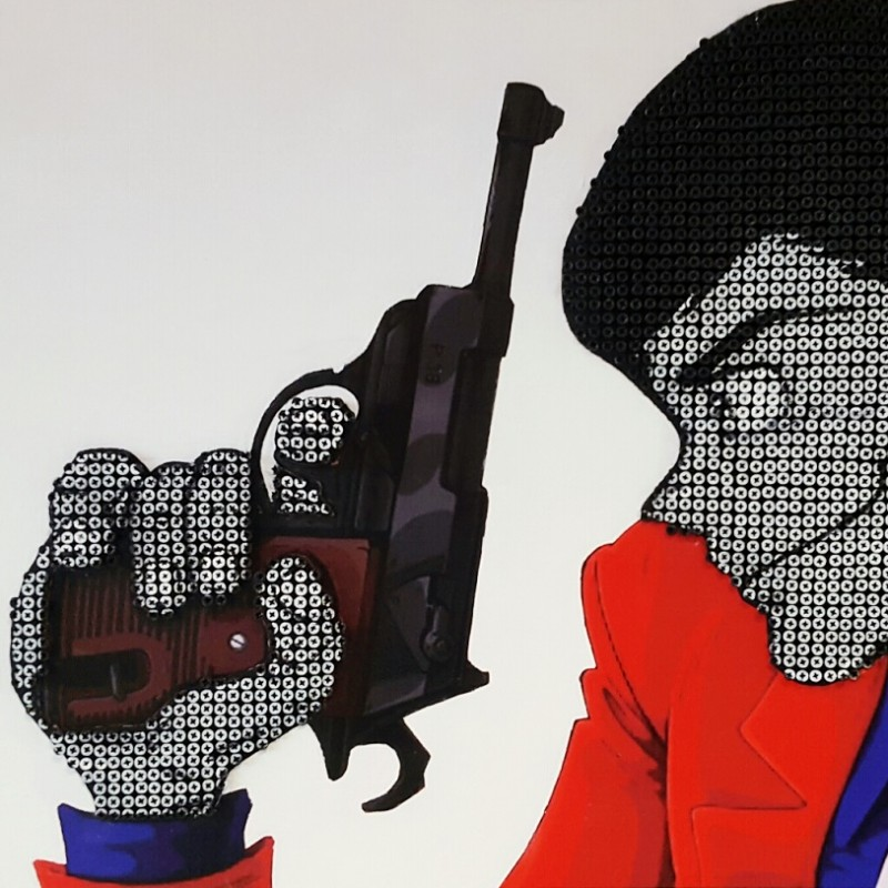 "Drill Monkeys Art Duo ""Lupin III"" acrylic on 4000 self-tapping screws 88x59x8 cm"