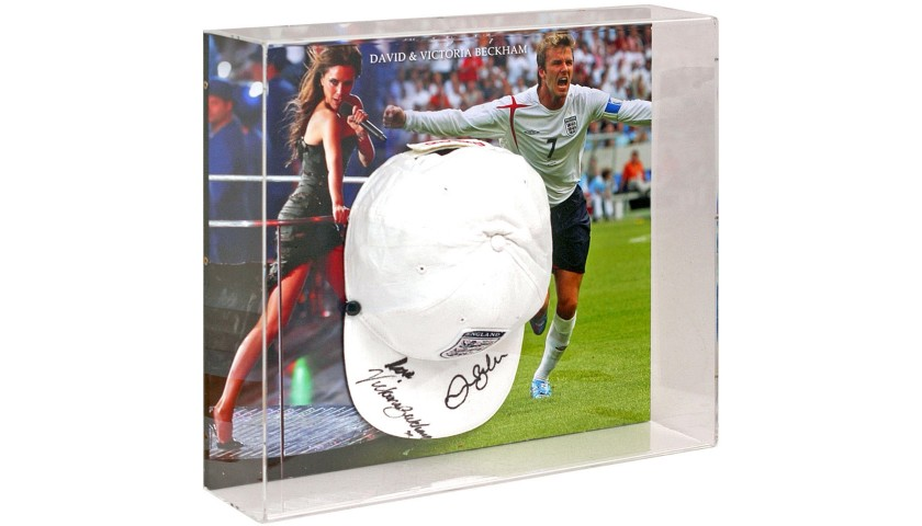 Victoria and David Beckham Hand Signed England Baseball Cap Display
