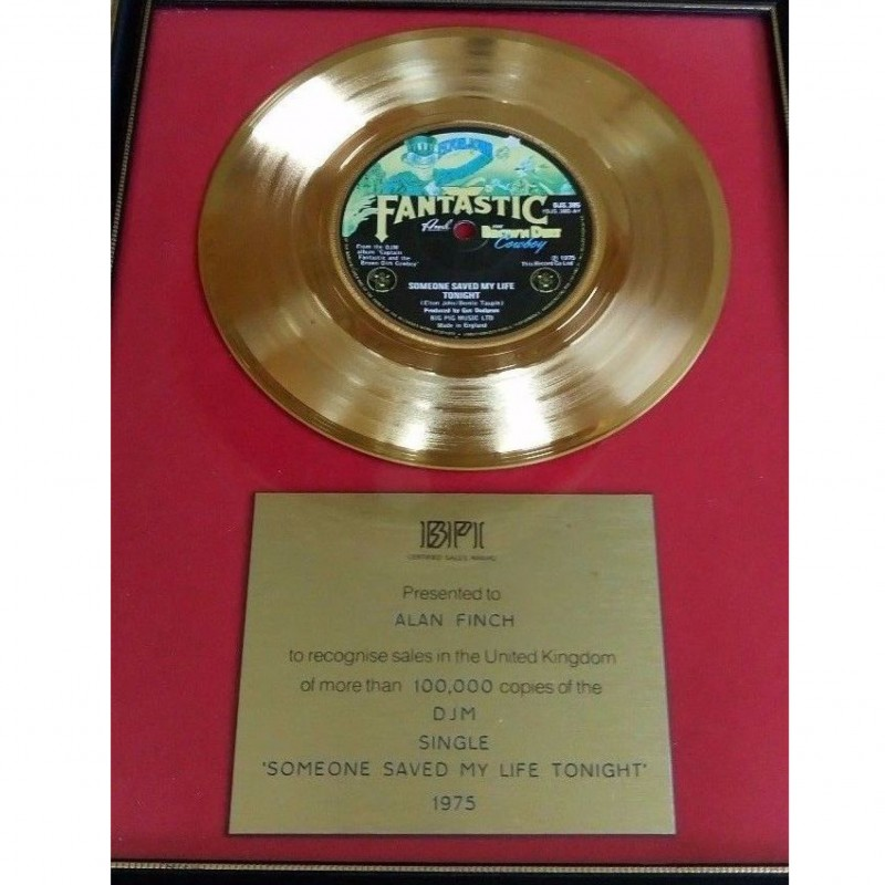 "Elton John BPI Gold Disc  ""Someone Saved My Life Tonight"""
