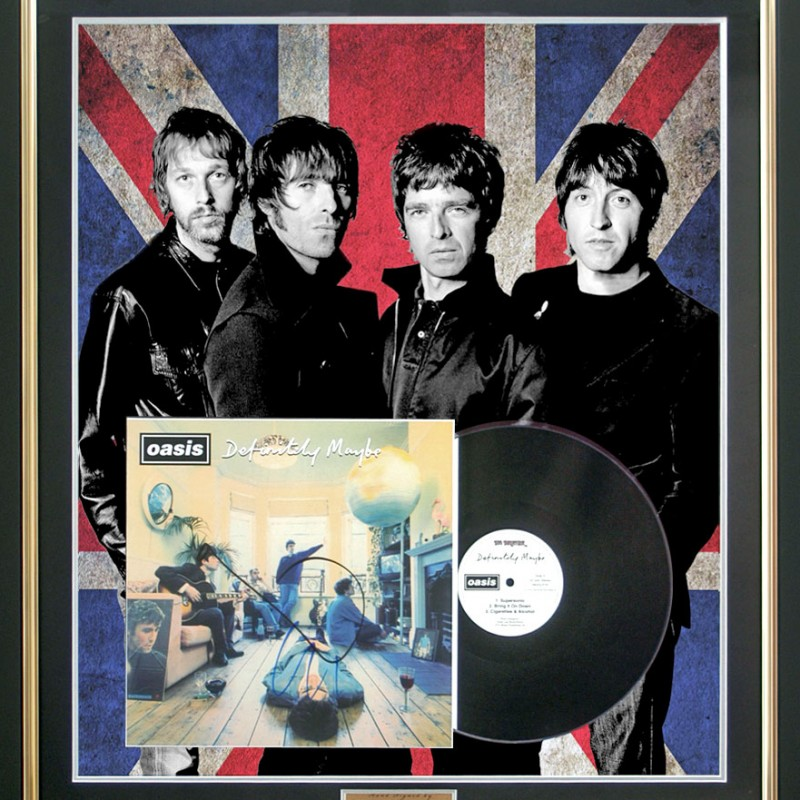 Oasis 'Definitely Maybe' Album Cover Hand Signed by Noel & Liam Gallagher