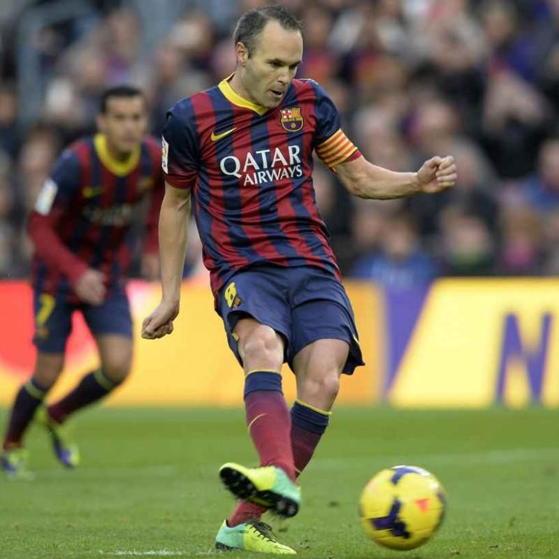 Iniesta's Barcelona Match-Issue/Worn Shirt, LFP 2013/14