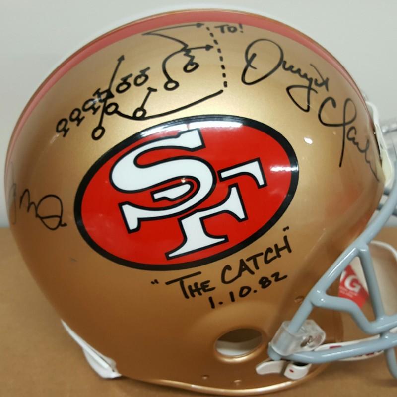 """Montana & Clark 1982 """"The Catch"""" 49ers Helmet"""