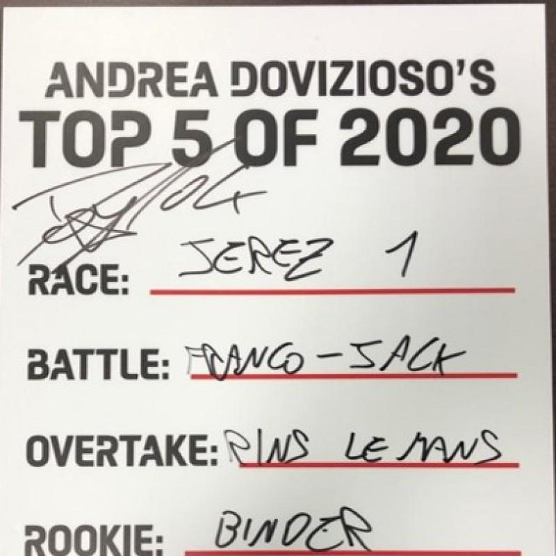 "Andrea Dovizioso's ""Top 5 of 2020"" MotoGP Moments Board - Signed"
