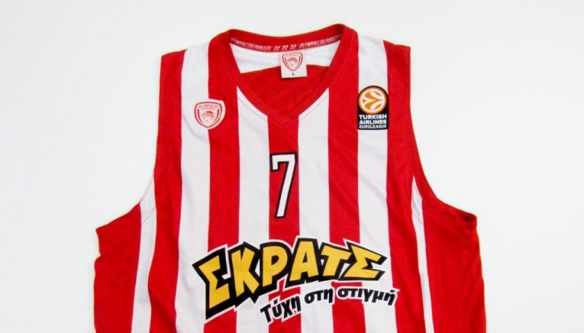 Spanoulīs Olympiacos  match worn shirt, Olympiakos-Olimpia Milano 2014 - signed by the team
