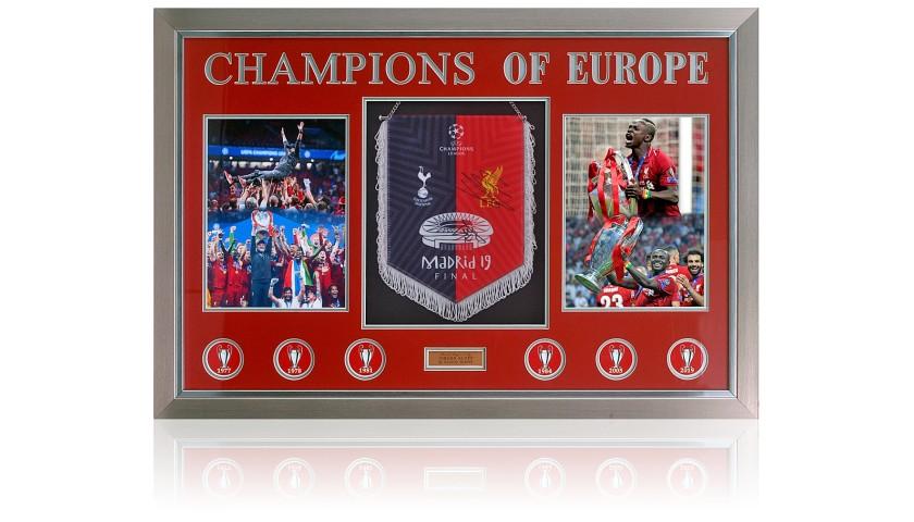 Liverpool Pennant Champions League Winners 2019 Hand Signed By Jurgen Klopp & Sadio Mane
