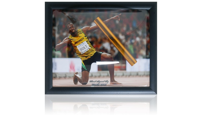 Usain Bolt Hand Signed Gold Baton