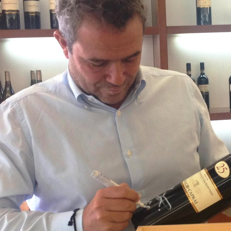 Bottle of Montefalco Sagrantino DOCG Arnaldo Caprai 25 anni 1,5 L signed by Marco Caprai