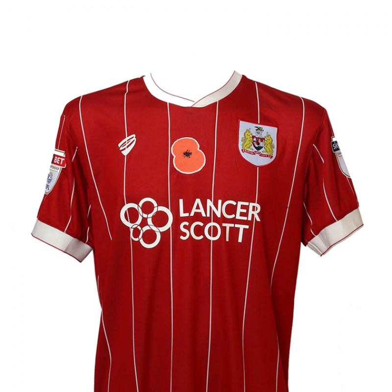 Match-Worn Poppy Shirt by Bristol City FC's Bobby Reid