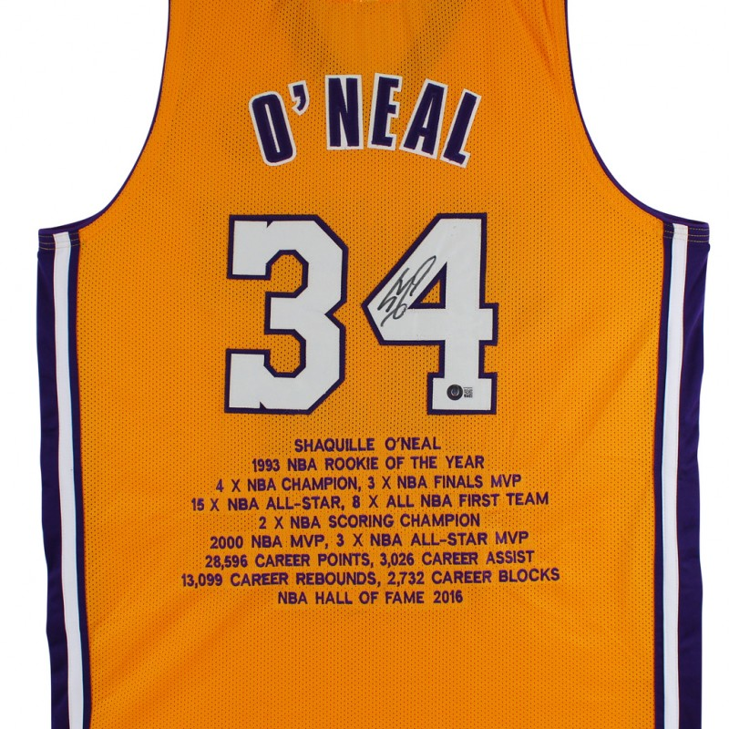 Shaquille O'Neal Signed Gold Stat Jersey