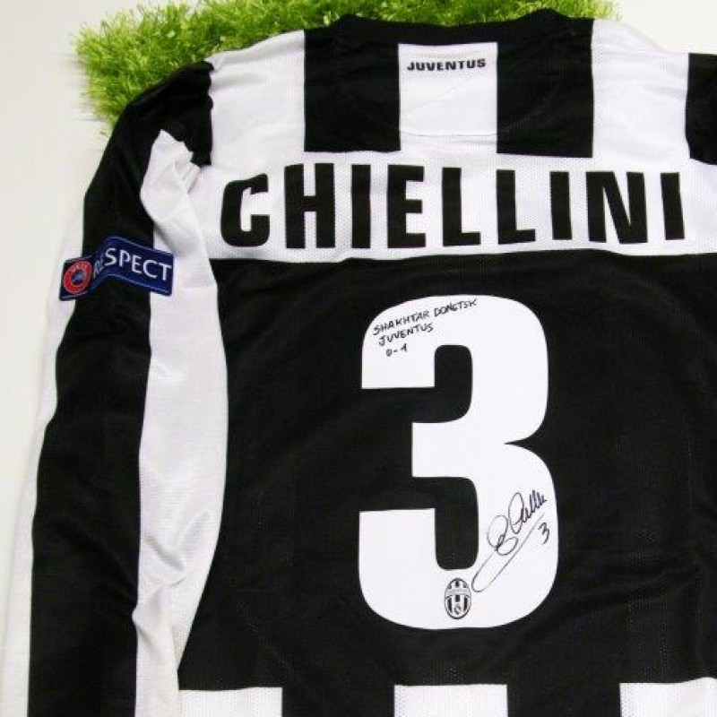 Juventus match worn shirt, Chiellini, Shakhtar Donetsk-Juventus, Champions League 12/13 - signed