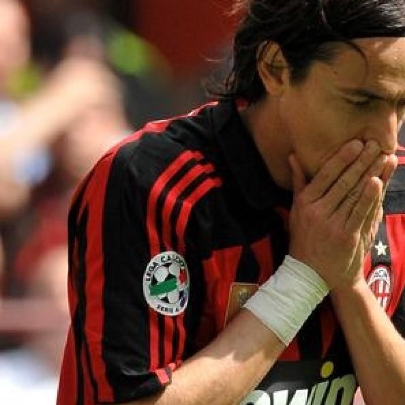 Worn Inzaghi Milan shirt, Serie A 2007/2008 - signed