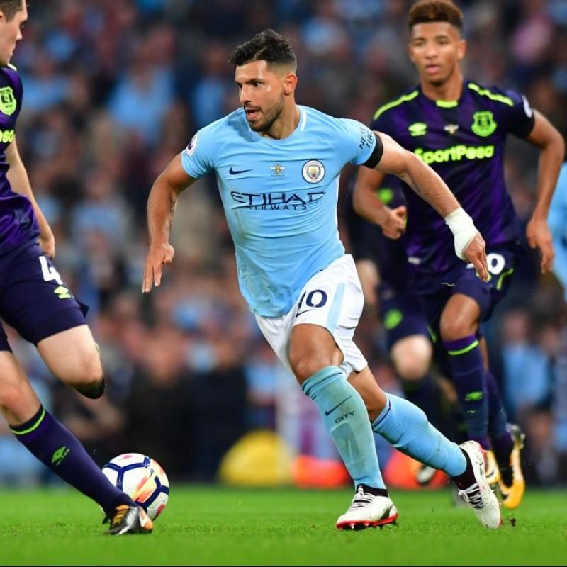 Aguero's Match-Issue/Worn Shirt, City-Everton 2017, Working Bee