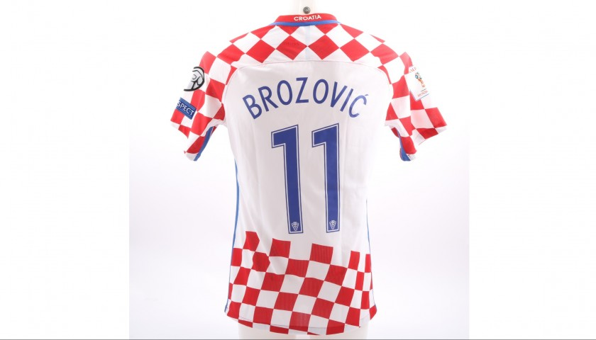 lowest price 59811 2bcbe Brozovic's Match-Worn/Issued 2017 Iceland-Croatia Shirt - CharityStars