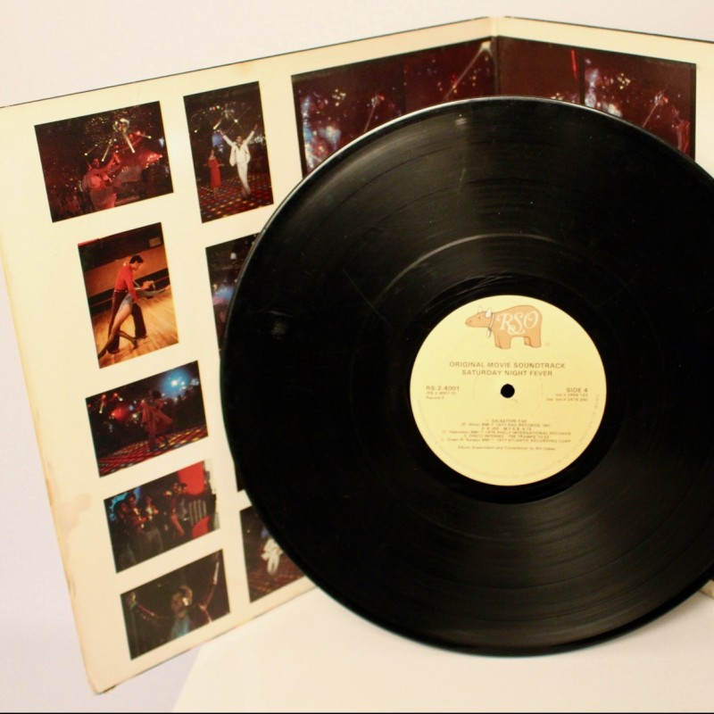 """""""Saturday Night Fever"""" Vinyl Signed by John Travolta and Bee Gees'  Maurice Gibb"""