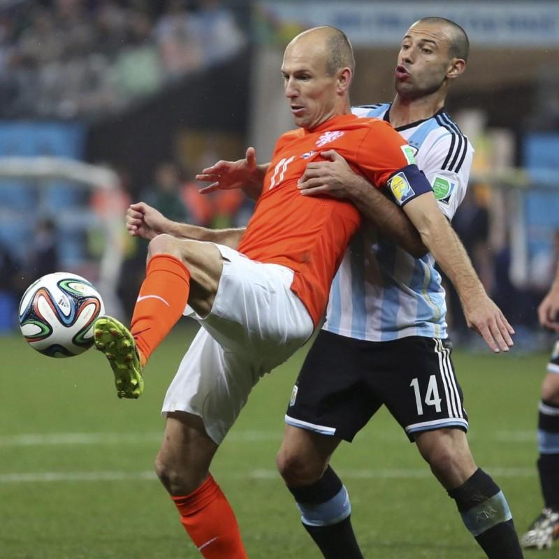 Mascherano Issued/Worn Shirt, Netherlands-Argentina 2014 World Cup