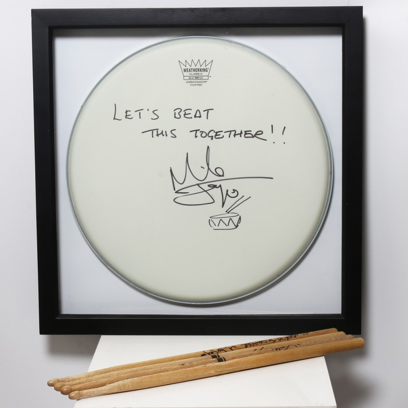 Mike Joyce, The Smiths Signed and Framed Drum Head, Sticks and Postcards