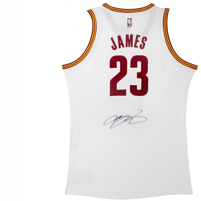 Official Replica Cleveland Cavaliers White Basketball Jeresy Signed by LeBron James