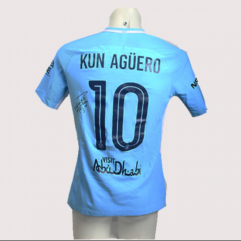 Sergio Aguero Worn and Signed Manchester City 17/18 Shirt