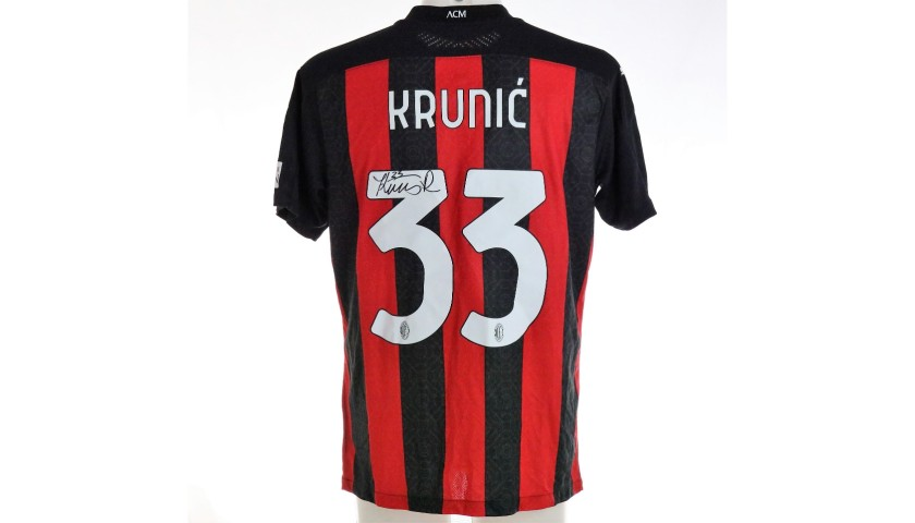 Krunic's Worn and Signed Shirt, Milan-Inter 2021