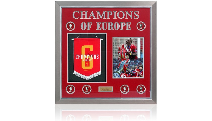 Liverpool Pennant Champions League Winners 2019 Hand Signed By Sadio Mane