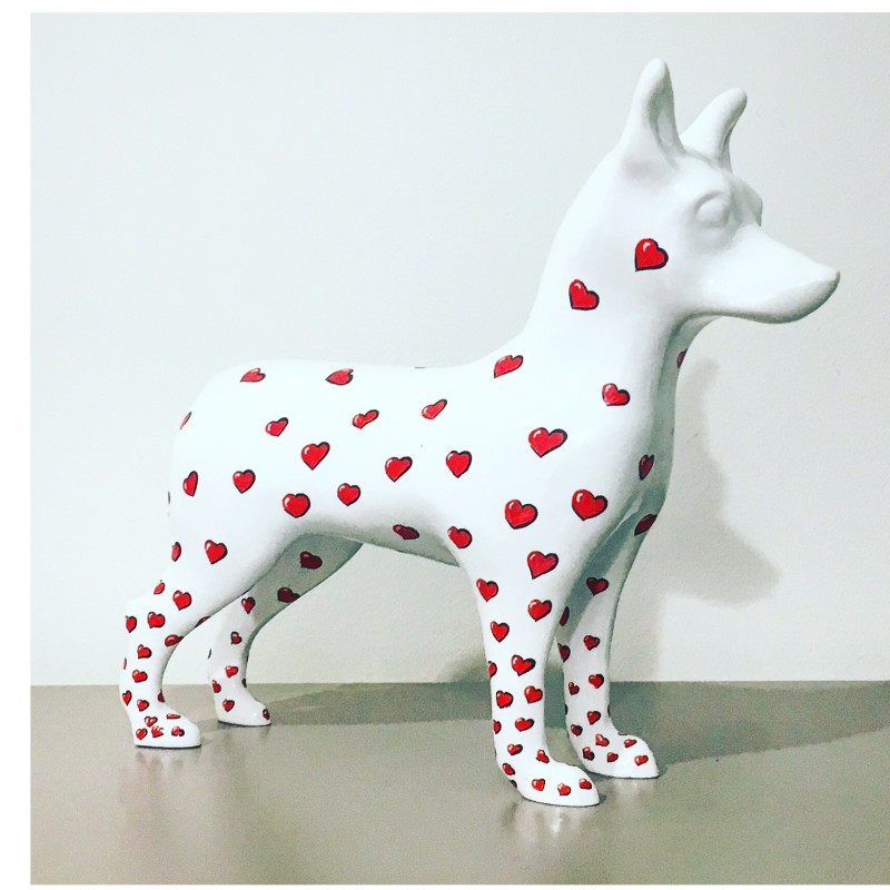 "A.Resina ""NinaForTheDogs"" marble dust sculpture - 31x30x0.9 cm"