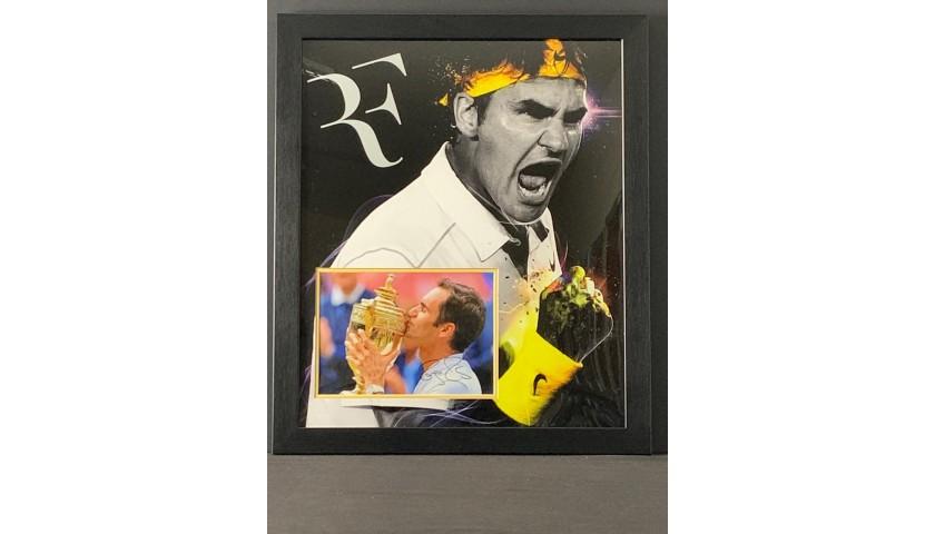 Roger Federer Signed and Framed Tennis Display