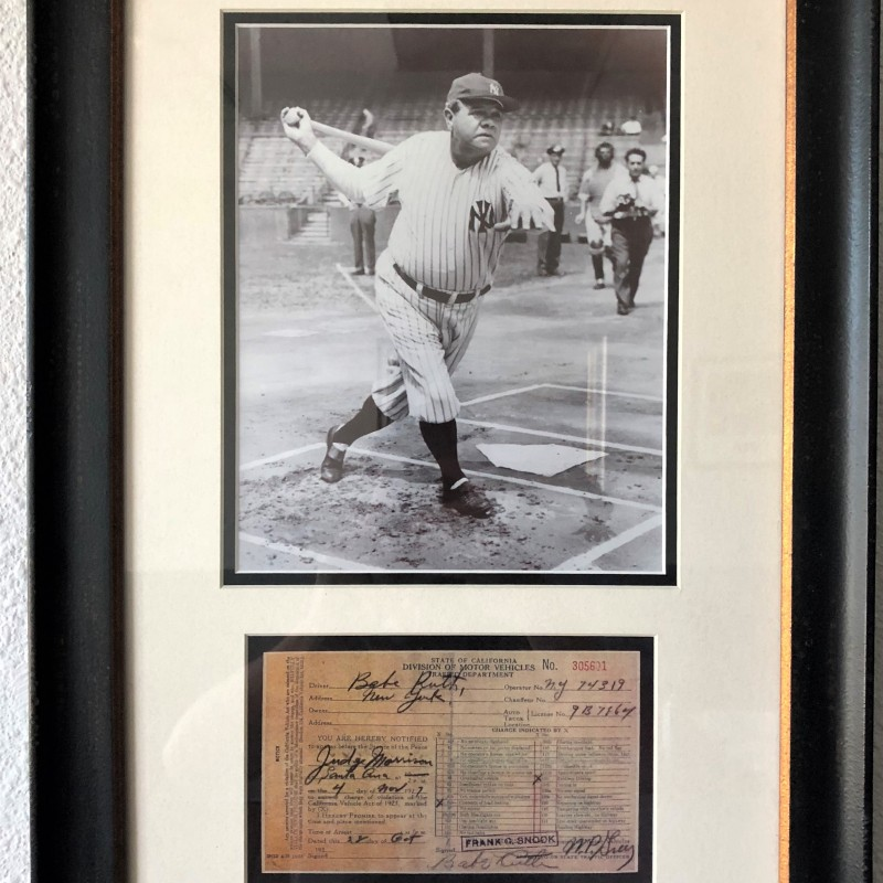 Babe Ruth Signed Photo and Traffic Citation