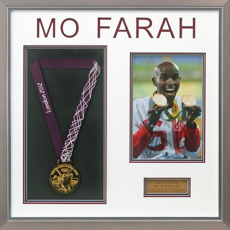 Mo Farah Signed Gold Medal Olympics Presentation