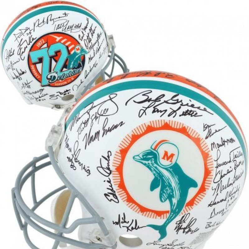 Signed 1972 Miami Dolphins Undefeated Helmet