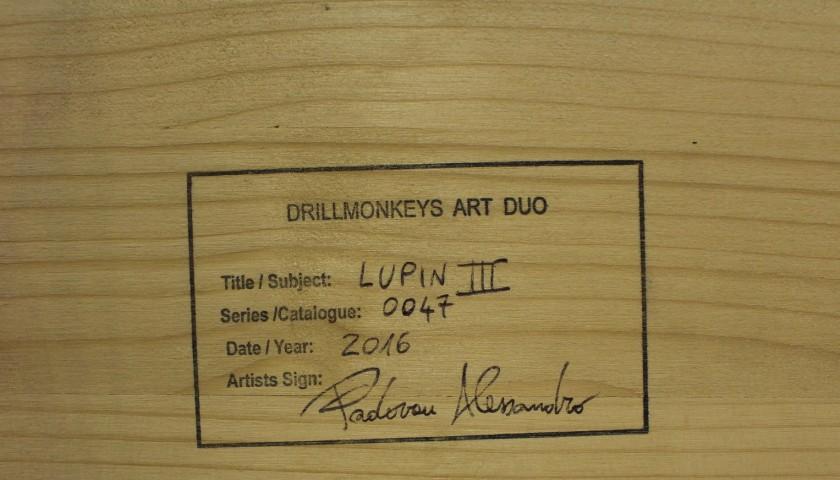 """Drill Monkeys Art Duo """"Lupin III"""" acrylic on 4000 self-tapping screws 88x59x8 cm"""