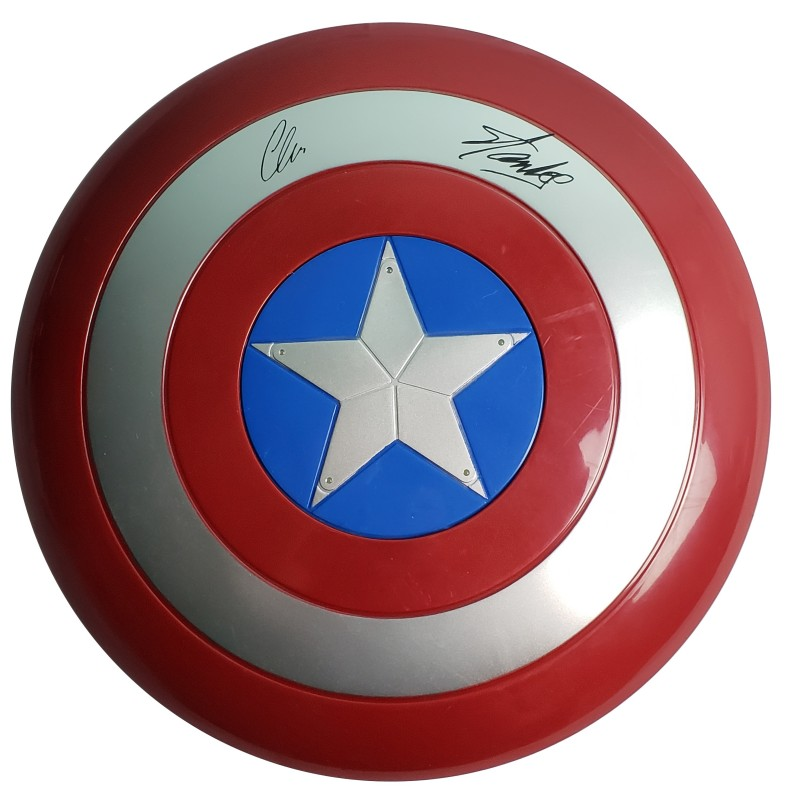 Stan Lee & Chris Evans Captain America Shield with Digital Signatures