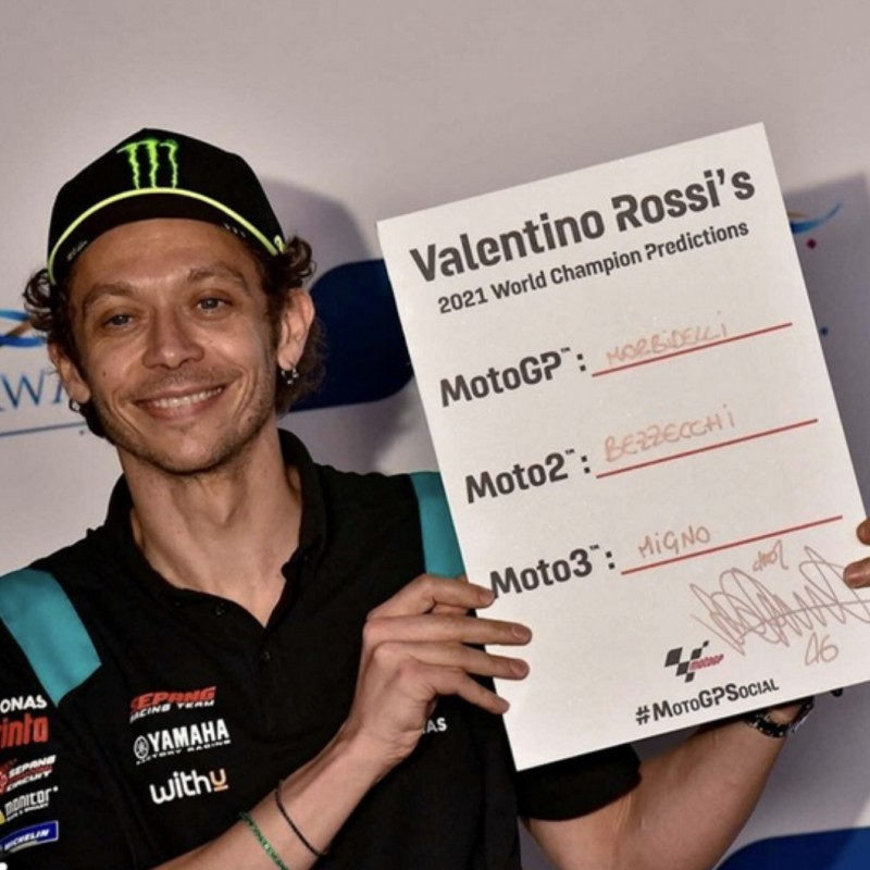 Signed '2021 Championship Winner Predictions' board Signed by Valentino Rossi