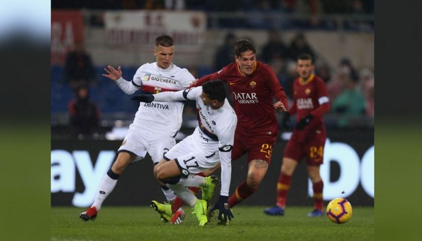 Zaniolo's Worn and Signed Shirt, Roma-Genoa 2018