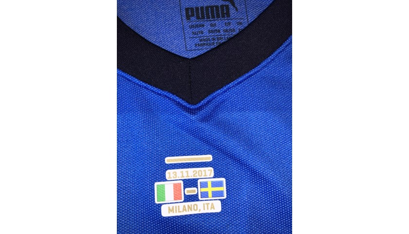 Barzagli's Match Signed Shirt, Italy-Sweden 2017