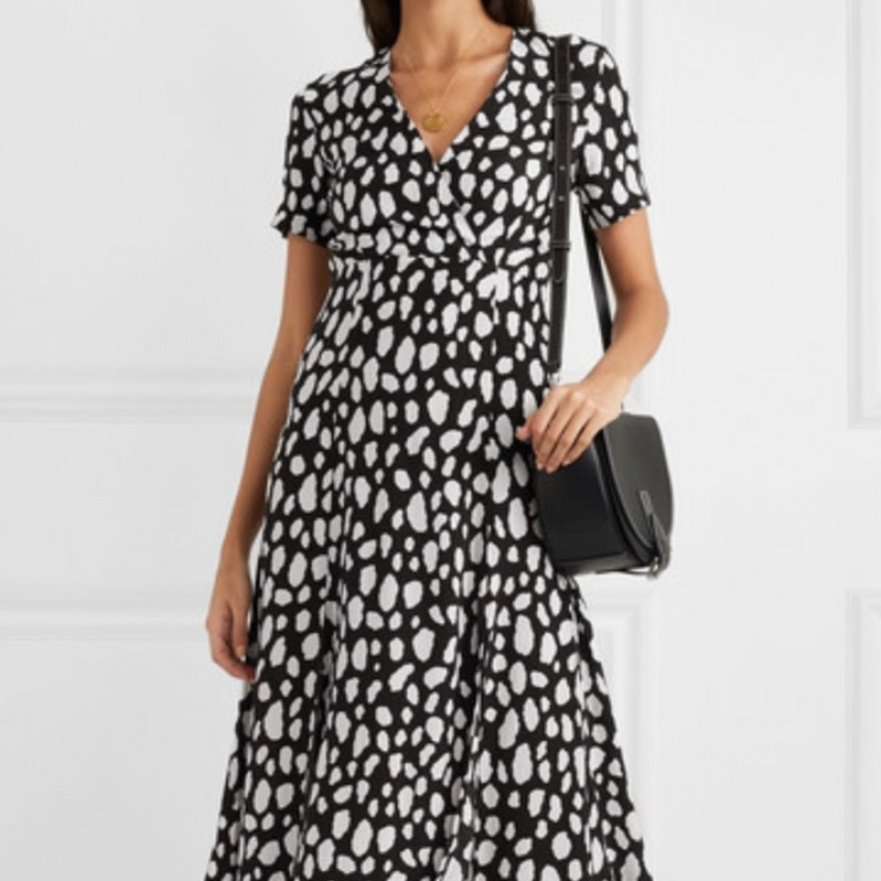Maje Printed Crepe Wrap-Effect Midi Dress