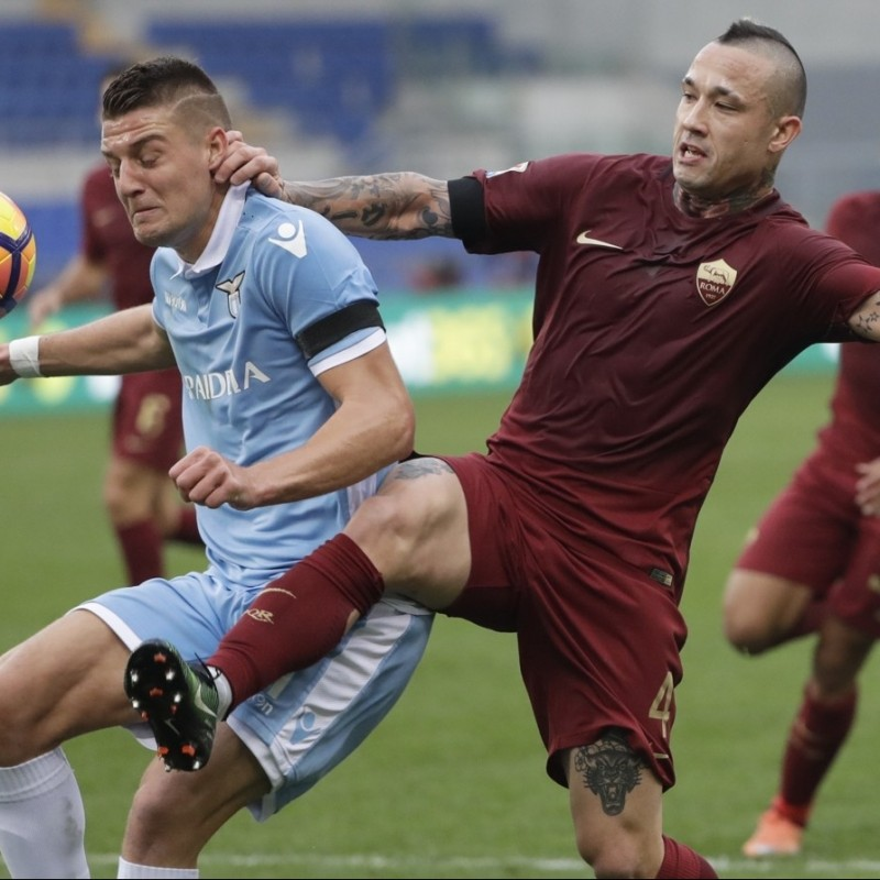 Milinkovic-Savic's Match-Issue/Worn Shirt, Lazio-Roma 2016
