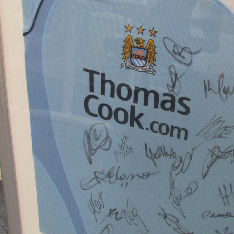 Framed Manchester City 08/09 Home Shirt Signed by the Squad