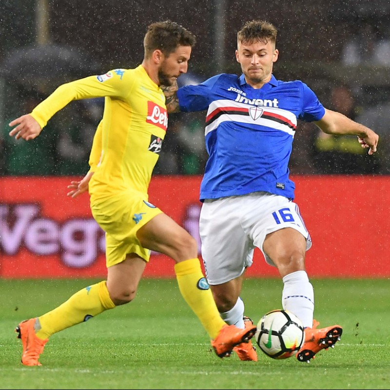 Mertens' Match-Issue Sampdoria-Napoli 2018 Signed Shirt