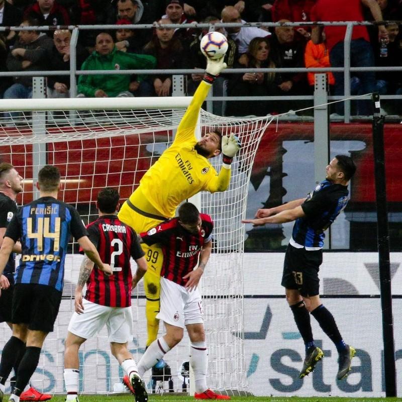 Donnarumma's Worn and Signed Shirt, Milan-Inter 2019