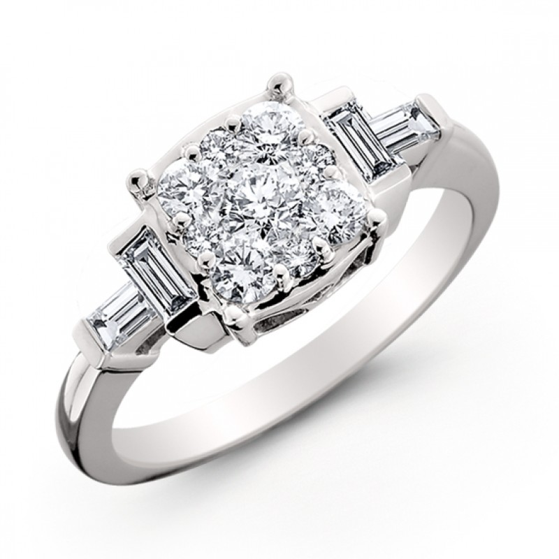 14KT White Gold Diamond Ring with Round and Baguette Diamonds