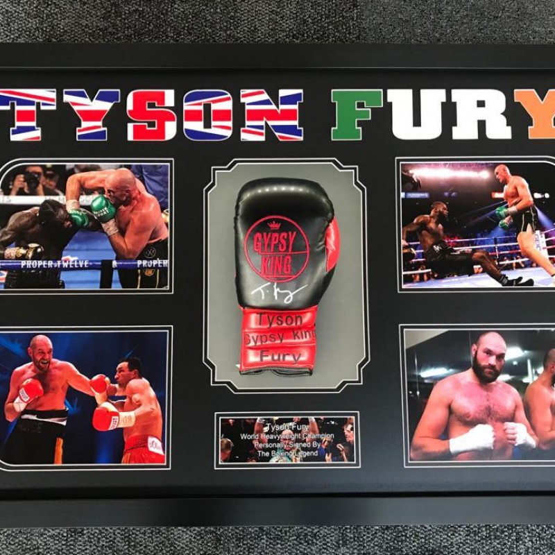 A Signed Glove and Photo Display of World Heavyweight Boxing Champion, Tyson Fury