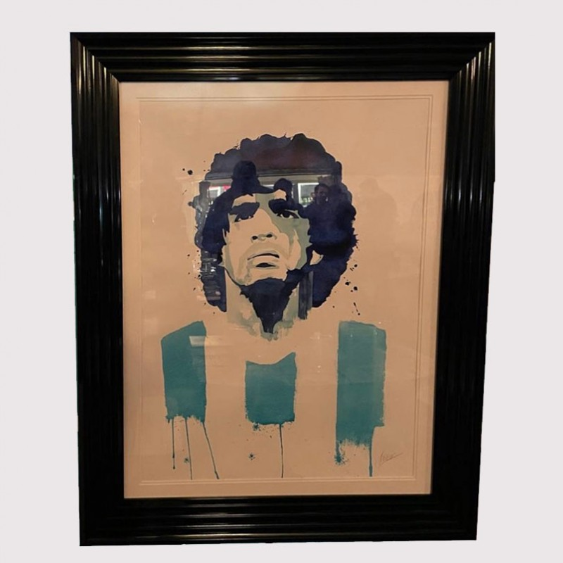 Diego Maradona Watercolour by Steve Fraser Framed