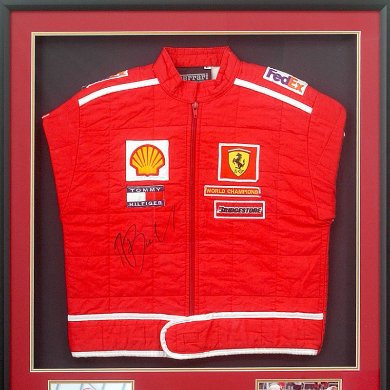 Rubens Barrichello Hand Signed Ferrari Race Jacket