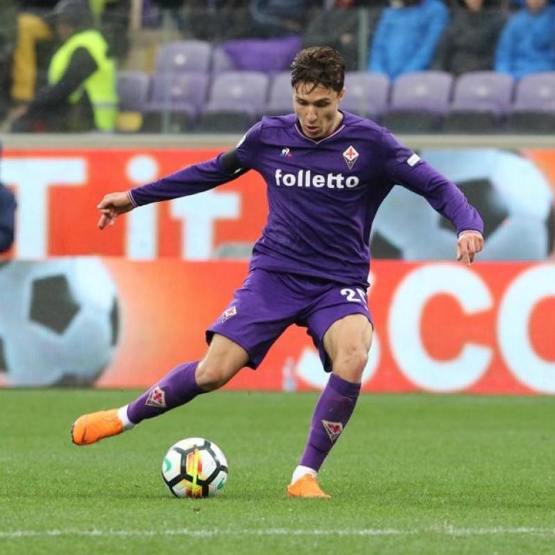 Chiesa's Match Worn and Signed Shirt, Fiorentina-Benevento 2018