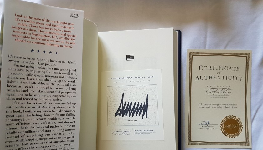DONALD TRUMP SIGNED BOOK CRIPPLED AMERICA 1st EDITION LIMITED COA USA President
